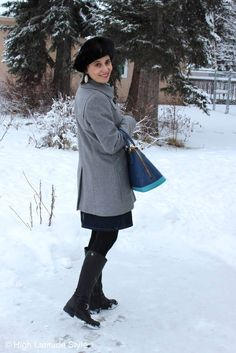fashion over 50 work outfit in classic gray and blue @ High Latitude Style @ http://www.highlatitudestyle.com