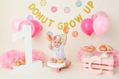 Donut grow up birthday photo shoot. 2nd Birthday Photos, Birthday Girl Pictures, 1st Birthday Photoshoot, Birthday Ideas, Half Birthday, Birthday Cake, Donut Birthday Parties, Donut Party, Grown Up Parties
