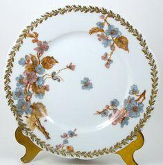 "6 1//4/"" Diameter Antique Jean Pouyat Limoges Gold Rim Hibiscus Pattern Plate"