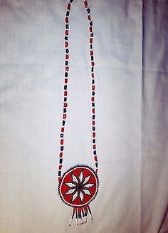 Vtg Cherokee Native American Seed Beaded Tribal Morning Star Medallion Necklace