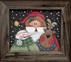 Folk Art Santa with Snowman and Reindeer Tole by barbsheartstrokes
