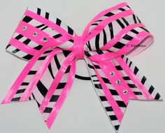 WOW Zebra Hot Pink Cheerleading Hairbow - Allstars -. $18.00, via Etsy.