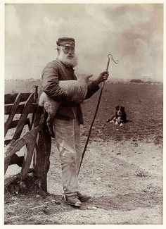 A photograph titled 'Ninety and Nine', showing an elderly shepherd carrying a lamb and holding a crook, taken by Colonel Joseph Gale (c 1835-1906) in 1890.