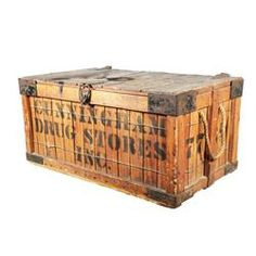 Shipping crate with metal accents and shipper.