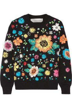 Black nylon, multicolored faux raffia Slips on 100% nylon; embroidery: 100% viscose; lining: 74% viscose, 22% nylon, 4% elastane Dry clean