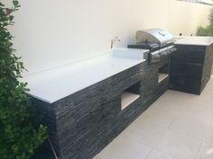 BBQ area - Nano Crystal White tops with Split Slate facade
