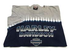 Harley Davidson XXL Men's Long Sleeve T-Shirt Blue Gray Tie Dye Florida FL 2XL #HarleyDavidson #EmbellishedTee