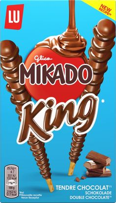 Mondelēz will broaden the appeal of its Mikado chocolate biscuit snack by launching Mikado King double chocolate. Chocolate Snacks, Chocolate Biscuits, Chocolate Cookies, Food Packaging, Packaging Design, Oreo Ice Cream, Chocolate Packaging, Cute Food, Design Trends