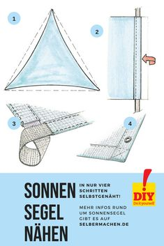An awning is quickly self-sewn. All the instructions and ideas for awnings are available selbermachen.de by selber_machen Trailers Camping, Shade Sail Installation, Luxury Campers, Parasol, Diy Pergola, Garden Design, Sailing, Self, Outdoor