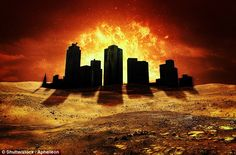 Conspiracy theorists believe the planet Nibiru is set to hit into our planet in October this year, after being driven here by the gravitational pull from a 'binary star' twinned with the sun - of which there is no evidence. Artist's concept of a city after the apocalypse