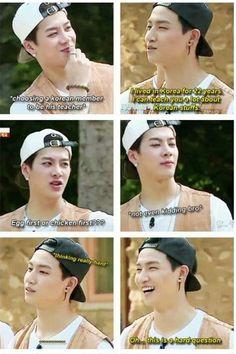 The important question hahahah JB=Korean Jackson=Chinese Got7 Funny, Got7 Meme, Funny Kpop Memes, Jyp Got7, Got7 Jb, Yugyeom, Got7 Jackson, Jackson Wang, K Pop