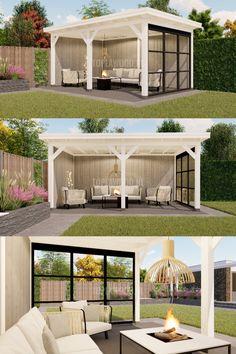 Backyard Patio Designs, Pergola Patio, Gazebo, Farm Gardens, Outdoor Gardens, Outdoor Living, New Homes, Exterior, Outdoor Structures