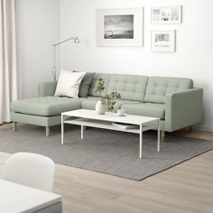 LANDSKRONA Sectional, - with chaise, Grann/Bomstad gray-green/wood - IKEA long by 62 chaise length by 35 sofa depth seat). how look under Ann/Garth's window? At Home Furniture Store, Modern Home Furniture, Landskrona Sofa, Vert Metal, Ikea Family, Sofa Frame, Home Furnishings, Love Seat, Home Decor