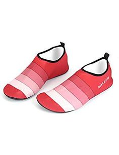 BIG FOOT Women/'s Water Shoes Beach Non-Skid Soles Pink Navy Shoe Size 9-10