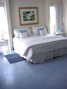 Love the blue polished concrete floor Best Flooring, Grey Bedding, Concrete Floors, Little Houses, Home Organization, New Homes, Sweet Home, Bedroom Decor, House Design