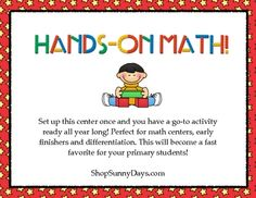 These 40 task cards provide exactly what the title implies,  kids really get their hands on every day objects and apply mathconcepts you have taught them.    Download the free preview for a sample and pictures of each page!    Concepts covered include:  -odd and even  -least to greatest  -patterning  -standard and non-standard measuring  -calculator usage  -basic calculation  -sorting by attributes    $3.25