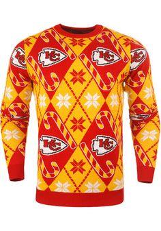 Kansas City Chiefs Mens Red Candy Cane Sweatshirt