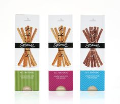 Packaging of the World: Creative Package Design Archive and Gallery: Cretamel SA Sesame Sticks Label Design, My Design, Package Design, Food Packaging, Product Packaging, Packaging Design Inspiration, Creative Design, Branding, Creative Package