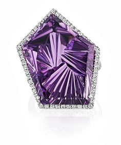 The linear facest within this Brazilian amethyst cut by Sheldon Bloomfield give it a quirky off-centre star-like appearance