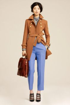 Use color..blue hue pants with a camel coat looks super stylish
