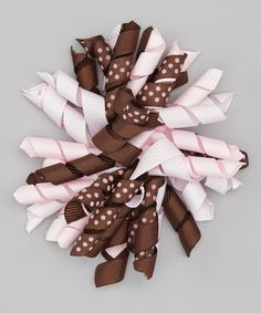 Take a look at this Brown & Pink Polka Dot Korker Bow Clip by Sweet As Can Bee on #zulily today!