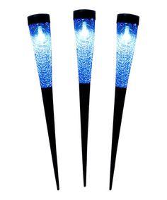 Love this Light Blue Sparkle Cone Solar Torch Light - Set of Three on #zulily! #zulilyfinds