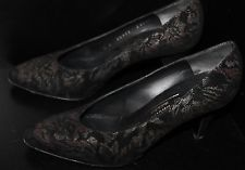 BLACK FLORAL TAPESTRY SUEDE BRUNO MAGLI PUMPS HEELS WOMENS SHOES 6B