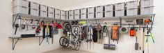 Gorgeous Garage crafts industry leading garage storage solutions including our innovative Monkey Bar Storage System. Contact a dealer to get your garage organized! Garage Ceiling Storage, Garage Hooks, Overhead Garage Storage, Garage Storage Systems, Diy Garage Storage, Garage Shelving, Shelving Systems, Bike Storage, Storage Room