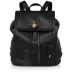 Alexander McQueen Padlock skull-embellished textured-leather backpack found on Polyvore
