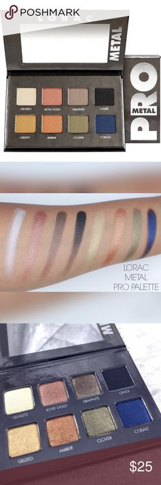 Lorac Pro Metal Eyeshadow Palette Only swatched once after I purchased never used. Box not included.  I am clearing out my collection. This is not new but only lightly swatched with sterile brushes to test color. Palette is sanitized by MUA standards. Excellent condition. Save the most by bundling. I offer 25% OFF on bundles of just 2+ items. No trades. I accept Reasonable offers. Lorac Makeup Eyeshadow