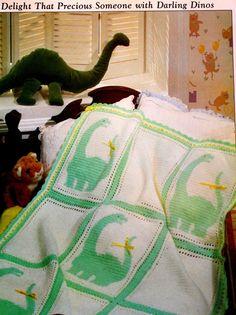 Crochet Dinosaur Blanket Pattern. Plus added by HappinessAndYarn