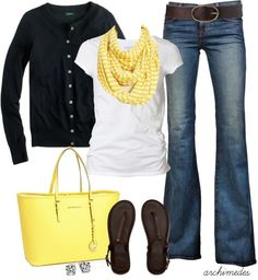 This Cute Outfit Ideas of the week is dedicated to the color yellow. See how you can incorporate this bright, cheery color into your wardrobe. Mom Fashion Blog, Fashion Fashion, Workwear Fashion, Fashion Blogs, Fashion Ideas, Fashion Outfits, Fashion Trends, Black Button Up Shirt, Striped Scarves