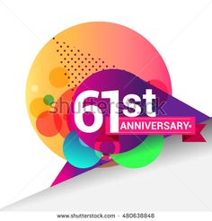 61st Anniversary logo, Colorful geometric background vector design template…