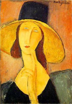 アメデオ・モディリアーニ「つば広帽子をかぶる妻ジャンヌ」