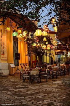 Greece Travel Inspiration - Greece Travel Inspiration- Kalamata (like the olive) ~ Peloponnese peninsula in southern Greece Oh The Places You'll Go, Places To Travel, Café Exterior, Beautiful World, Beautiful Places, Outdoor Cafe, Backyard Cafe, Outdoor Seating, Greece Travel