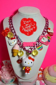 Sweet Rainbow Hello Kitty Chunky Yummy Kawaii Necklace by Kawaii4U and like OMG! get some yourself some pawtastic adorable cat apparel!