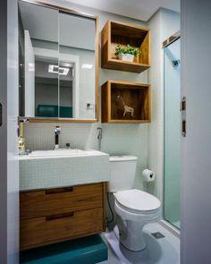 Bathroom Interior, Modern Bathroom, Small Bathroom, Small Toilet, Wall Shelves Design, Bathroom Shelves, Decoration, Sweet Home, New Homes