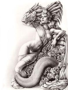 My darling Quetzal on Behance Mayan Tattoos, Mexican Art Tattoos, Chicano Art Tattoos, Chicano Drawings, Pop Art Drawing, Dark Art Drawings, Arte Cholo, Aztec Tattoo Designs, Frida Art