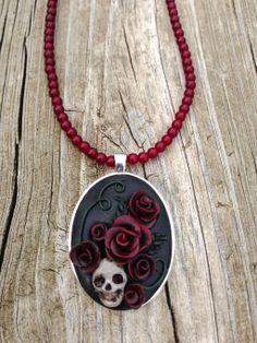 Skull and Roses Polymer Necklace by ArtfulParadox.deviantart.com on @deviantART