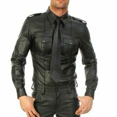 Men Faux leather Long Sleeve Shirts PU Leather T Shirts Men Sexy Fitness Tops Gay Latex T-shirt Tees Men Sexy Party Clubwear Military Style Shirts, Police Shirts, Biker Shirts, Uniform Shirts, Casual Shirts, Casual Outfits, Mens Leather Shirt, Leather Shirt Dress, Leather Men