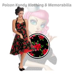 Hell Bunny Cannes 50's Dress Blk Red Halter neck – PoisonKandyKlothing
