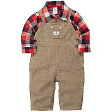 Carter's Boys 2 Piece Corduroy Overall with Applique and Red Flannel Button Down Bodysuit Set