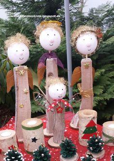 """Weihnachtlicher Engel aus einem Holzscheit basteln   Ein """"Hinkucker"""" auf jedem Weihnachtsmarkt und eine wunderschöne Deko!     Das braucht i..."""