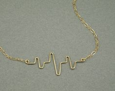 You Make my Heart Beat gold necklace by BrightTigerDesigns on Etsy, $32.50