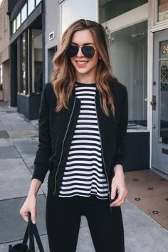 An always-stylish piece, this black bomber jacket is crafted with a sleek exterior with a quilted bodice for added warmth. It features snap-button pockets and a zip-up closure, finished with a close-c Black Bomber Jacket Outfit, Bomber Negra, Casual Outfits, Fashion Outfits, Girly Outfits, Summer Outfits, Minimal Outfit, Street Style, Korean Fashion