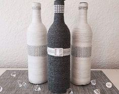 Wine Bottle Decor, 'GIANNA' Bottle, Home Decor, Housewarming Gift, Wedding Centerpiece, Dark Grey and White with Bling, Rustic Decor #decoratedwinebottles