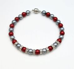Items similar to Scarlet & Gray Pearl Dog Collar, Pearl Cat Collar, Beaded Dog Collar, Beaded Cat Collar, Rhinestone Bead Accents on Etsy Buckeye Crafts, Football Bracelet, Beaded Dog Collar, Christmas Accessories, Homemade Jewelry, Ohio State Buckeyes, Pearl Grey, Jewelry Making, Beaded Bracelets