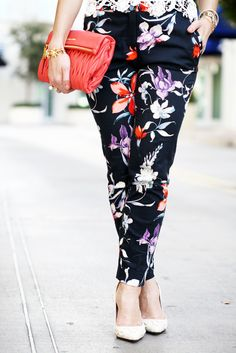 Blame it on Mei Miami Fashion Blogger 2016 Spring Outfit Idea Inspiration Floral Trouser Pants How To Style Crochet Lace Top Coral Miu Miu Clutch Cream White Pumps Soft Waves on Short Hair