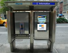 New York City will be replacing 250 pay phones with SmartScreens, 32″ touchscreen public information kiosks. Designed by City 24/7, the kiosks will provide transit updates, info on neighborhood businesses, and public safety alerts.