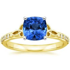 Blue Sapphire Luxe Celtic Love Knot Engagement Ring - 18K Yellow Gold